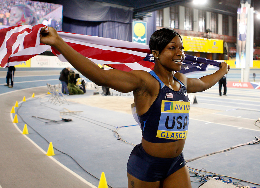 Photo: Richard Lane/Richard Lane Photography. Aviva International Match. 30/01/2010. USA's Carmelita Jeter celebrates winning the women's 60m.