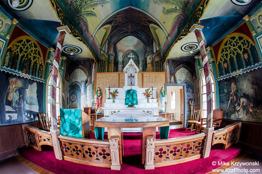 "Inside view of St. Benedict Roman Catholic Church aka ""The Painted Church"", Captain Cook, Big Island, Hawaii"
