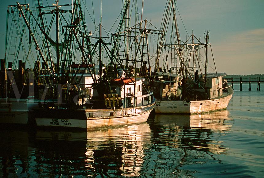 Fishing boats in harbor. South Carolina
