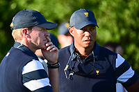Tiger Woods (USA) talks with Steve Stricker (USA) on 16 during round 1 foursomes of the 2017 President's Cup, Liberty National Golf Club, Jersey City, New Jersey, USA. 9/28/2017.<br /> Picture: Golffile | Ken Murray<br /> ll photo usage must carry mandatory copyright credit (&copy; Golffile | Ken Murray)