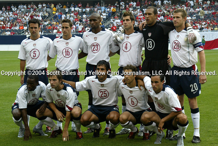 11 July 2004: The U.S. starting lineup. Front row (l to r): DaMarcus Beasley, Bobby Convey, Pablo Mastroeni, Steve Cherundolo, Landon Donovan. Back row (l to r): Kerry Zavagnin, Josh Wolff, Eddie Pope, Carlos Bocanegra, Tim Howard, Brian McBride. The United States tied Poland 1-1 at new Soldier Field in Chicago, IL an international friendly soccer game..