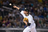 Charlotte Knights relief pitcher Daniel Webb (40) delivers a pitch to the plate against the Scranton\Wilkes-Barre RailRiders at BB&T BallPark on May 1, 2015 in Charlotte, North Carolina.  The RailRiders defeated the Knights 5-4.  (Brian Westerholt/Four Seam Images)