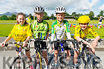 L-R Lyra Mc Carthy from Milltown, Tiarnach, Tadgh and Aona O'Shea all from Killorglin at the starting line of Ring of the Reeks cycle in Beaufort GAA club last Saturday morning.