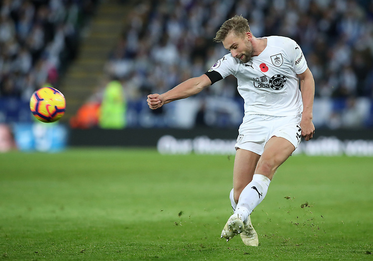 Burnley's Charlie Taylor<br /> <br /> Photographer Rachel Holborn/CameraSport<br /> <br /> The Premier League - Saturday 10th November 2018 - Leicester City v Burnley - King Power Stadium - Leicester<br /> <br /> World Copyright © 2018 CameraSport. All rights reserved. 43 Linden Ave. Countesthorpe. Leicester. England. LE8 5PG - Tel: +44 (0) 116 277 4147 - admin@camerasport.com - www.camerasport.com