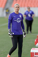 Ashlyn Harris (1) of the Orlando Pride during warmups prior to their game with the Houston Dash on Friday, May 20, 2016 at BBVA Compass Stadium in Houston Texas. The Orlando Pride defeated the Houston Dash 1-0.