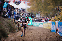 Lars Van der Haar (NLD/Giant-Alpecin) running in 2nd position well behind race leader Wout Van Aert (BEL/Vastgoedservice-Golden Palace)<br /> <br /> Men Elite Race<br /> Superprestige Zonhoven 2015