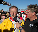 "Unlimited Champion Robert ""Hoot"" Gibson is interviewed by Jeff Nance at the Air Races at the Reno-Stead Airfield on Sunday, Sept. 20, 2015."