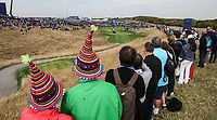 Wacky hats look down the 8th during Friday's Fourballs, at the Ryder Cup, Le Golf National, Îls-de-France, France. 28/09/2018.<br /> Picture David Lloyd / Golffile.ie<br /> <br /> All photo usage must carry mandatory copyright credit (© Golffile | David Lloyd)