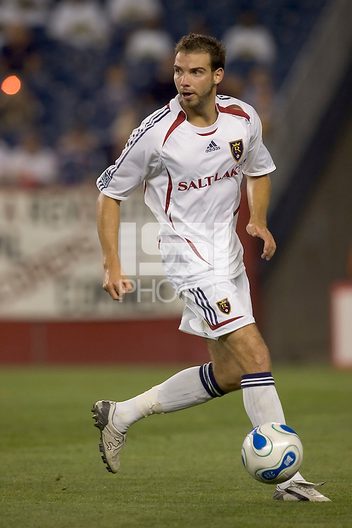 Daniel Torres looks to pass the ball. The New England Revolution lose to Real Salt Lake, 3-1, July 14 at Gillette Stadium.