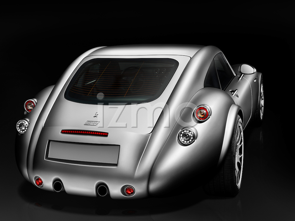 High angle rear view of a silver 2010 Wiesmann MF4 Coupe