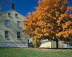 Pleasant Hill, KY: East Family buildings and fall maple tree, a Shaker Village