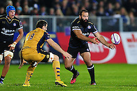 Kane Palma-Newport of Bath Rugby passes the ball. European Rugby Challenge Cup match, between Bath Rugby and Bristol Rugby on October 20, 2016 at the Recreation Ground in Bath, England. Photo by: Patrick Khachfe / Onside Images