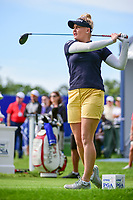 Charley Hull (ENG) watches her tee shot on 1 during Thursday's round 1 of the 2017 KPMG Women's PGA Championship, at Olympia Fields Country Club, Olympia Fields, Illinois. 6/29/2017.<br /> Picture: Golffile | Ken Murray<br /> <br /> <br /> All photo usage must carry mandatory copyright credit (&copy; Golffile | Ken Murray)