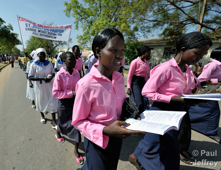 Catholics in Southern Sudan participate in a procession through the streets of Juba on November 20 to pray for a peaceful January 2011 referendum on secession from the north of the country. The independence vote has widespread support throughout Southern Sudan, including among Christians. NOTE: In July 2011 Southern Sudan became the independent country of South Sudan.