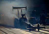 Jun. 29, 2012; Joliet, IL, USA: NHRA top fuel dragster driver Shawn Langdon during qualifying for the Route 66 Nationals at Route 66 Raceway. Mandatory Credit: Mark J. Rebilas-