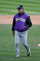 Louisville Bats pitching coach Ted Power (48) walks off the field after a mound visit during a game against the Rochester Red Wings on May 4, 2014 at Frontier Field in Rochester, New  York.  Rochester defeated Louisville 12-6.  (Mike Janes/Four Seam Images)