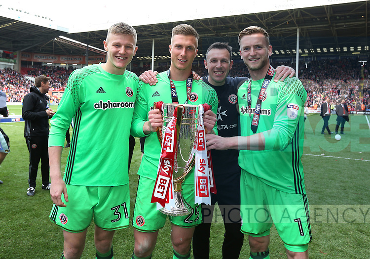 Jake Eastwood, Simon Moore, Darren Ward and George Long of Sheffield Utd goal keepers union celebrate during the League One match at Bramall Lane, Sheffield. Picture date: April 30th, 2017. Pic David Klein/Sportimage
