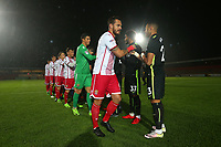 The teams shake hands during Stevenage vs Brighton & Hove Albion Under-21, Checkatrade Trophy Football at the Lamex Stadium on 7th November 2017