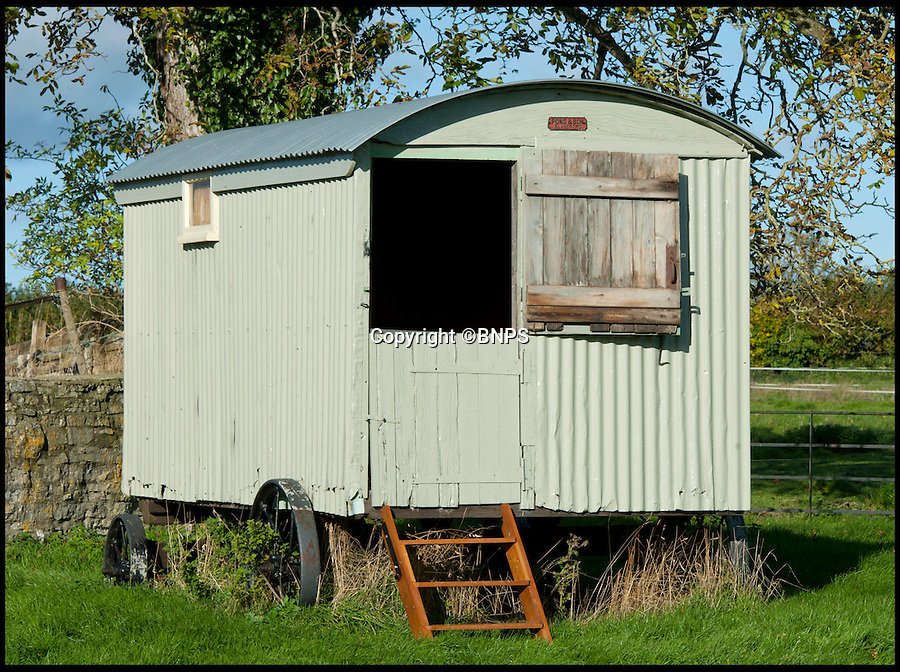 BNPS.co.uk (01202 558833)<br /> Pic: LauraJones/BNPS<br /> <br /> The shepherd's hut.<br /> <br /> A shepherd's hut used by the real-life Gabriel Oak, the main love interest in the new movie Far From the Madding Crowd, has been saved from ruin after being found abandoned in a hedgerow.<br /> <br /> The cabin on wheels belonged to Waterston Manor, the inspiration for fictional Weatherbury Farm which Carey Mulligan's character Bathsheba Everdene owns in the film adaptation of the Thomas Hardy classic novel.<br /> <br /> It has been returned to its former glory by historian David Morris.