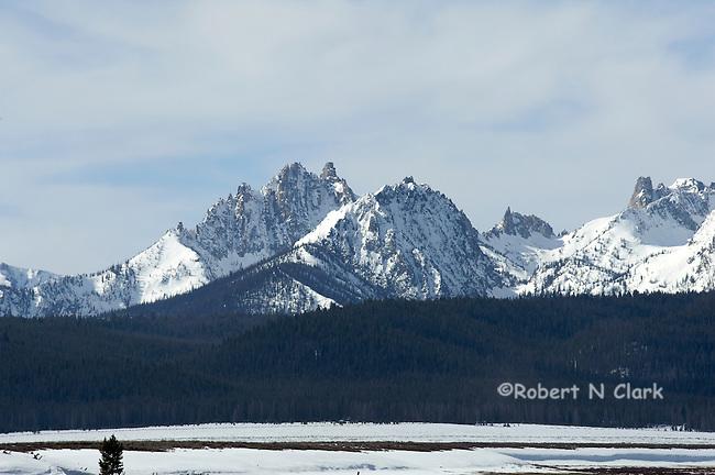 Winter scene of the Sawtooths near Stanley Idaho with snow