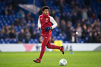Reiss Nelson of Arsenal during the pre match warm ups ahead of the Carabao Cup semi final 1st leg match between Chelsea and Arsenal at Stamford Bridge, London, England on 10 January 2018. Photo by Andy Rowland.