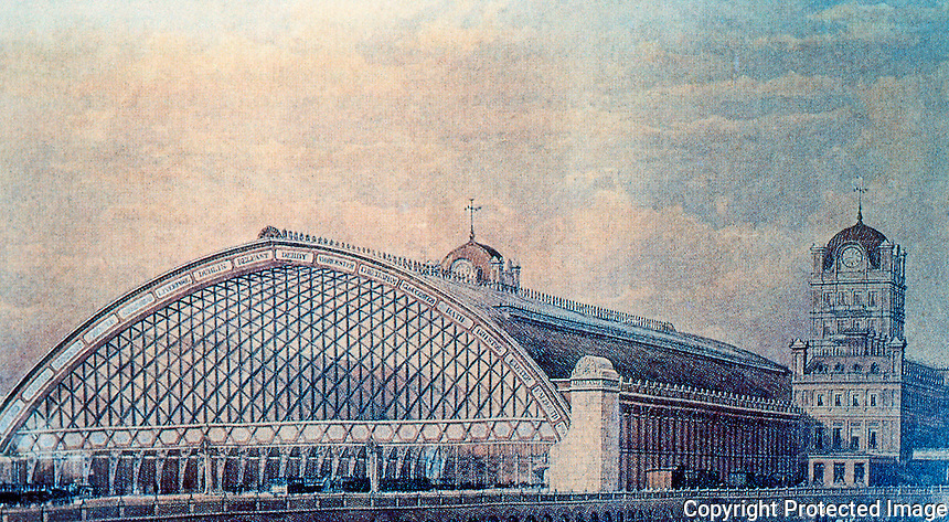 London: St. Pancras Station. W. H. Barlow, Engines' Shed Design, 1865. A.D. 70.