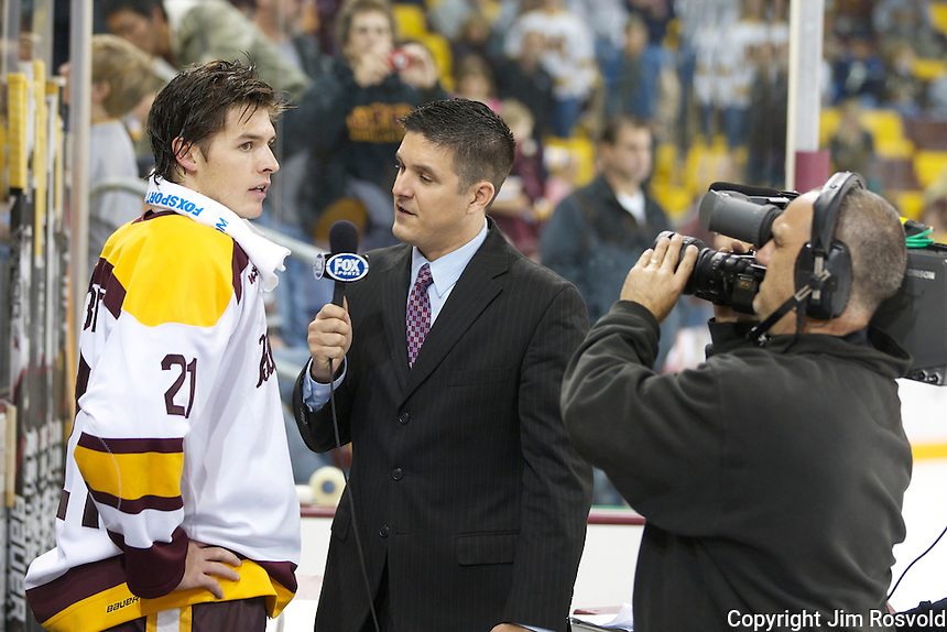14 Oct 11: Caleb Herbert (Minnesota-Duluth - 21), Robby Incmikoski (FSNorth), Mike Pigeon (FSNorth) The University of Minnesota-Duluth Bulldogs host the University of Minnesota Golden Gophers in a WCHA matchup at Amsoil Arena in Duluth, MN.