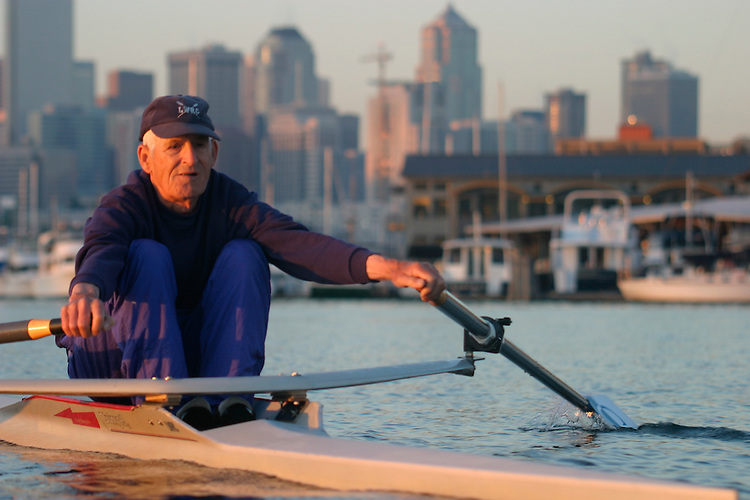 Rowing, Coach, Frank Cunningham, Lake Washington Rowing Club, Champion Harvard stroke, Long time Seattle rowing coach at LWRC, Lakeside School, and Greenlake rowing a single racing shell, Lake Union, Seattle,