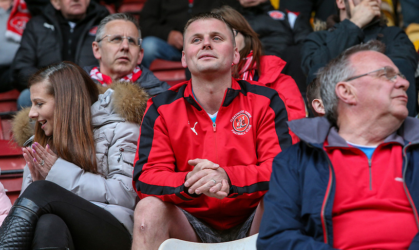 Fleetwood Town fans take their seats<br /> <br /> Photographer Alex Dodd/CameraSport<br /> <br /> The EFL Sky Bet League One - Play-Off Semi-Final First Leg - Bradford City v Fleetwood Town - Thursday 4th May 2017 - Coral Windows Stadium - Bradford<br /> <br /> World Copyright &copy; 2017 CameraSport. All rights reserved. 43 Linden Ave. Countesthorpe. Leicester. England. LE8 5PG - Tel: +44 (0) 116 277 4147 - admin@camerasport.com - www.camerasport.com