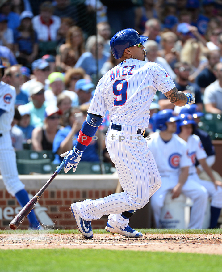 Chicago Cubs Javier Baez (9) during a game against the Arizona Diamondbacks on June 5, 2016 at Wrigley Field in Chicago, IL. The Diamondbacks beat the Cubs 3-2.