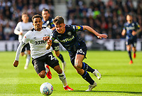 Leeds United's Jamie Shackleton takes on Derby County's Duane Holmes<br /> <br /> Photographer Alex Dodd/CameraSport<br /> <br /> The EFL Sky Bet Championship Play-off  First Leg - Derby County v Leeds United - Thursday 9th May 2019 - Pride Park - Derby<br /> <br /> World Copyright © 2019 CameraSport. All rights reserved. 43 Linden Ave. Countesthorpe. Leicester. England. LE8 5PG - Tel: +44 (0) 116 277 4147 - admin@camerasport.com - www.camerasport.com