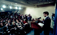 Washington, DC., USA, January 21, 1993<br /> First press briefing by George Stephanopoulos. Newly appointed White House Communications Director for President WIlliam Clinton; George Stephanopoulos answers reporters questions in the press briefing room on the first day of regular business. Credit: Mark Reinstein/MediaPunch