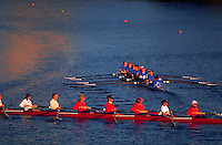 Young women rowing in the Head of the Charles Regatta. Cambridge, Massachusetts.