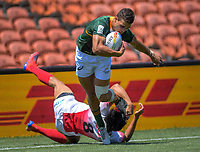 South Africa's Muller du Plessis scores during the men's pool match against Japan. Day one of the 2020 HSBC World Sevens Series Hamilton at FMG Stadium in Hamilton, New Zealand on Saturday, 25 January 2020. Photo: Dave Lintott / lintottphoto.co.nz