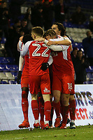 GOAL - Fleetwood Town's Ashley Hunter celebrates scoring his side's second goal with team-mate during the Sky Bet League 1 match between Oldham Athletic and Fleetwood Town at Boundary Park, Oldham, England on 26 December 2017. Photo by Juel Miah / PRiME Media Images.