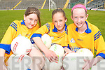 AT PLAY: The Kilgobnet National School Skills Team from Beaufort that took part in Kerry Primary Schools Girls Skills Finals in Fitzgerald Stadium Killarney on Friday last..L/r. Elizabeth O'Sullivan, Mary Ann Doherty and Maria Rafferty.    Copyright Kerry's Eye 2008