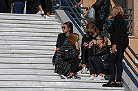 Pictured: Mourners break down on the steps of Agios Nektarios church in Voula, Athens Greece. Sunday 04 November 2018<br /> Re: The funeral of Greek-Australian John Macris, who was shot dead outside his house, to be held at the Agios Nektarios Church in the Voula suburb of Athens, Greece.