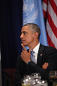 United States President Barack Obama attends a luncheon hosted by United Nations Secretary-General Ban Ki-moont at the United Nations 69th General Assembly in New York, New York on Wednesday, September 24, 2014.<br /> Credit: Allan Tannenbaum / Pool via CNP
