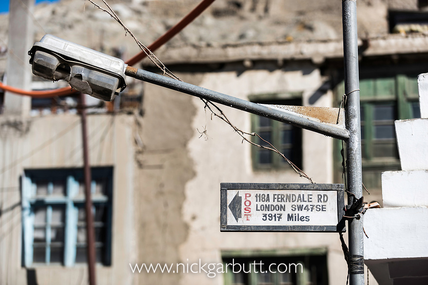 Road sign to London. Leh, Ladadh, India.