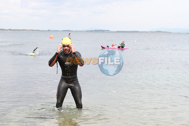 "Fergal O'Brien at the Clogherhead ""Round the Head Swim""....(Photo credit should read Jenny Matthews/NEWSFILE)..."