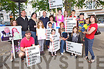 Parents and children fromTarbert, Ardfert and Athea assemble in Newcastle West last Friday to protest over cuts to rural bus services ahead of the arrival of Enda Kenny to the town.