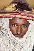 Ballayara, Niger. A Fulani  Man, Doyi Bango, wearing a Typical Fulani Hat.