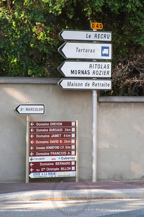 road sign ampuis rhone france