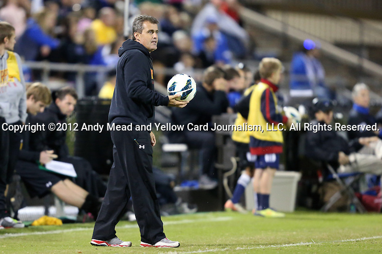 12 October 2012: Maryland head coach Sasho Cirovski. The University of Maryland Terrapins defeated the Duke University Blue Devils 2-1 at Koskinen Stadium in Durham, North Carolina in a 2012 NCAA Division I Men's Soccer game.