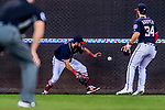28 April 2017: Washington Nationals outfielder Adam Eaton is unable to come up with a fly ball during play against the New York Mets at Nationals Park in Washington, DC. The Mets defeated the Nationals 7-5 to take the first game of their 3-game weekend series. Mandatory Credit: Ed Wolfstein Photo *** RAW (NEF) Image File Available ***