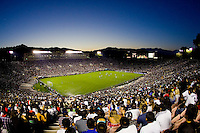 The view of the match from the top of the Rose Bowl. Real Madrid beat the LA Galaxy 3-2 in an international friendly match at the Rose Bowl in Pasadena, California on Saturday evening August 7, 2010.