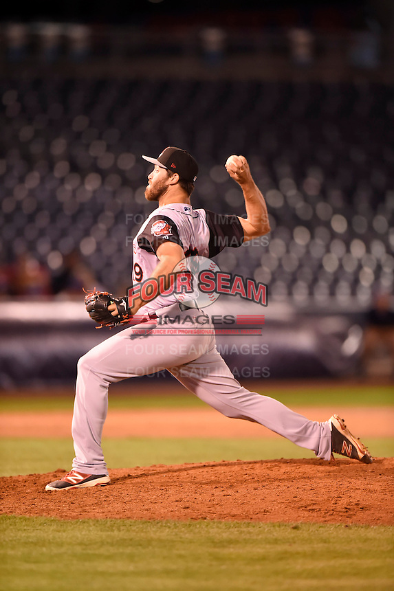 ***Temporary Unedited Reference File***Arkansas Travelers relief pitcher Austin Adams (19) during a game against the Tulsa Drillers on April 28, 2016 at ONEOK Field in Tulsa, Oklahoma.  Tulsa defeated Arkansas 5-4.  (Mike Janes/Four Seam Images)