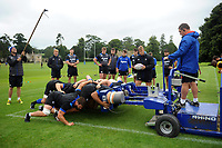 The Bath Rugby forwards practise their scrummaging. Bath Rugby pre-season training session on July 28, 2017 at Farleigh House in Bath, England. Photo by: Patrick Khachfe / Onside Images