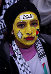 Palestinian supporters of the Fatah movement take part during a rally in Gaza City on December 31, 2017, marking the 53rd anniversary of the creation of the political party. Photo by Ashraf Amra