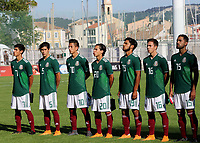 The Mexico players proudly sing their national anthem during Mexico Under-21 vs England Under-21, Tournoi Maurice Revello Final Football at Stade Francis Turcan on 9th June 2018